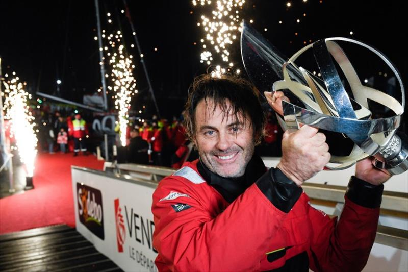 Maitre Coq, skipper Yannick Bestaven (FRA), is pictured with trophy during finish of the Vendee Globe sailing race, on January 28, 2021. - photo © Jean-Louis Carli