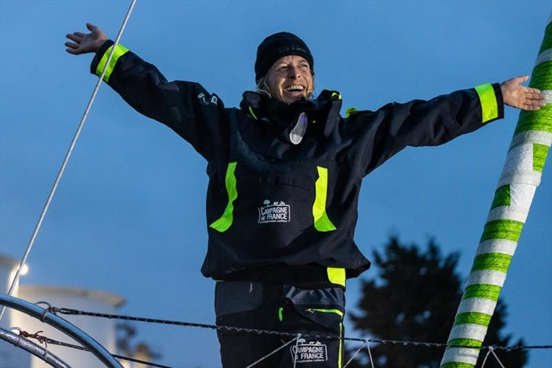 Skipper Miranda Merron, Campagne de France, is pictured celebrating in the channel during arrival of the Vendee Globe sailing race - photo © Jean-Marie Liot