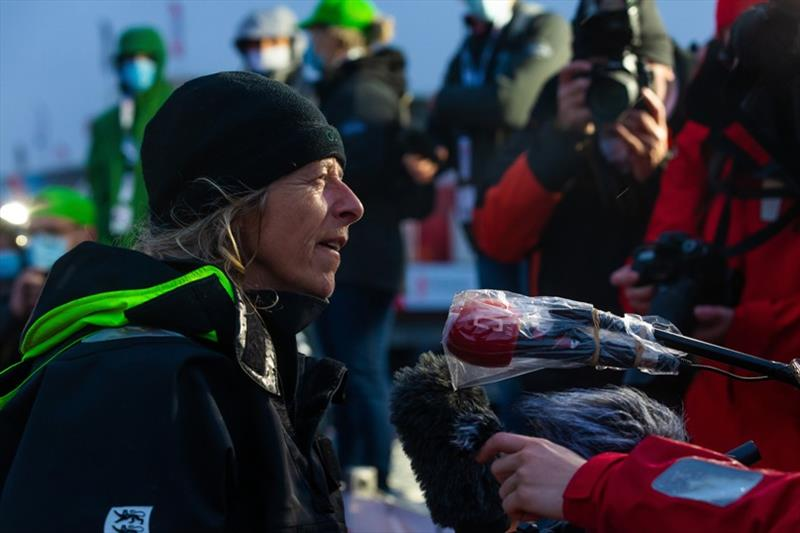 Skipper Miranda Merron, Campagne de France, is portraited being interviewed by media during arrival of the Vendee Globe sailing race - photo © Jean-Marie Liot