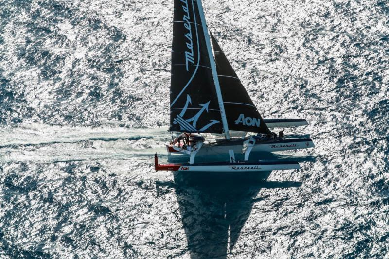 Giovanni Soldini's Multi 70 Maserati after the agreed delayed start with Argo in Antigua - RORC Caribbean 600 photo copyright RORC / Arthur Daniel taken at Royal Ocean Racing Club and featuring the MOD70 class