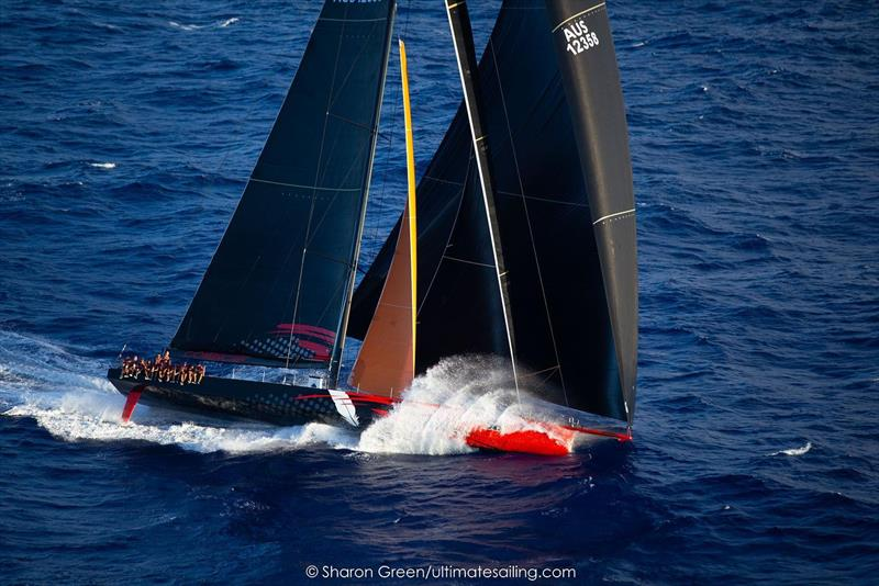 Comanchefinal approach through the Molokai Channel during sunset. - Transpac 50 - photo © Sharon Green / Ultimate Sailing