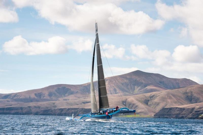 Peter Cunningham's PowerPlay at the start of the 2018 RORC Transatlantic Race from Lanzarote to Grenada photo copyright RORC / Joaquin Vera taken at Royal Ocean Racing Club and featuring the MOD70 class