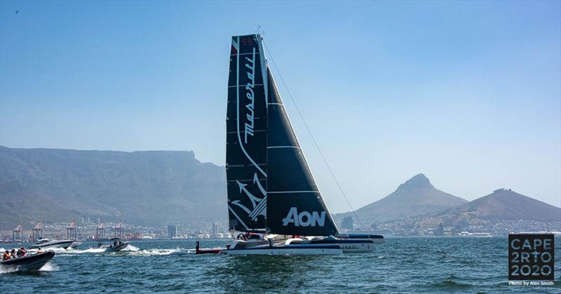 Maserati Multi 70 start Cape2Rio 2020 - photo © Alec Smith