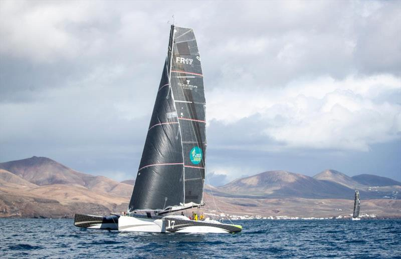 Start of the 2021 RORC Transatlantic Race from Puerto Calero, Lanzarote - Oren Nataf's Multi50 Trimaran Rayon Vert, skippered by Alex Pella photo copyright James Mitchell / RORC taken at Royal Ocean Racing Club and featuring the Multi 50 class