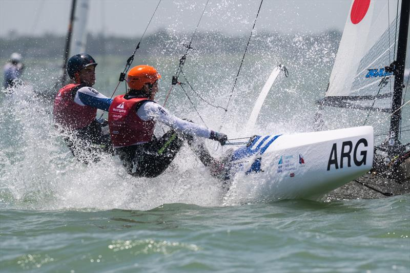 Argentina's Nacra 15 crew of Teresa Romairone and Dante Cittadini have forged a comfortable lead on Day 2 in the open multihull class at the 48th Youth Sailing World Championships. - photo © Jen Edney / World Sailing