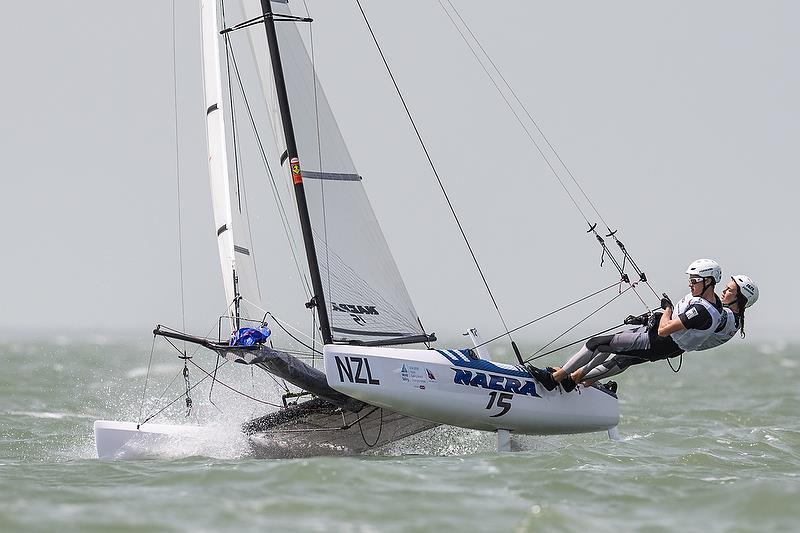 Greta Stewart, Tom Fyfe Nacra 15 (NZL) - Youth Sailing World Championships, Corpus Christi, Texas, USA. July 14-21, 2018 - photo © Jen Edney / World Sailing