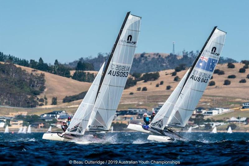 Nacra 15 fleet - Day 1, 2019 Australian Sailing Youth Championships - photo © Beau Outteridge / 2019 Australian Youth Championships