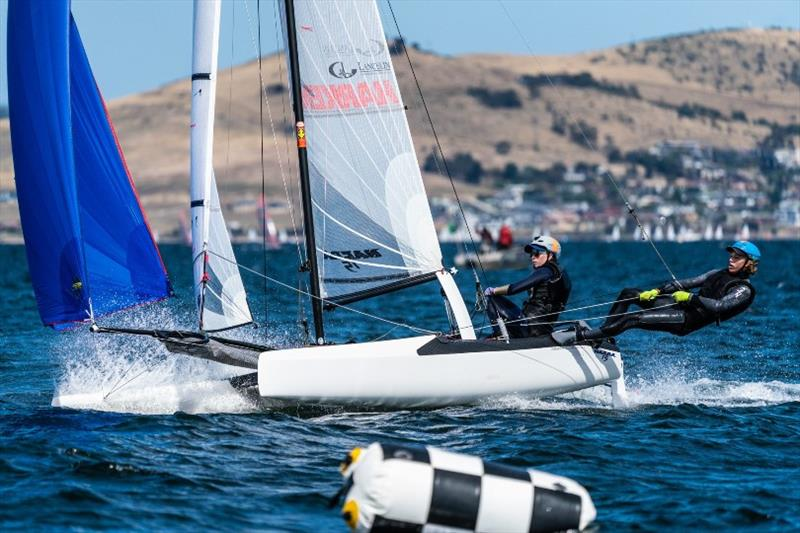 Nacra 15 team Ashleigh Swadling and Nathan Bryant (Qld) are second overall after two days - Day 2, Australian Sailing Youth Championships 2019 - photo © Beau Outteridge