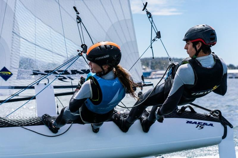 Will Cooley and Bec Hancock (NSW) won the the Nacra 15 class - Day 4, Australian Sailing Youth Championships 2019 - photo © Beau Outteridge