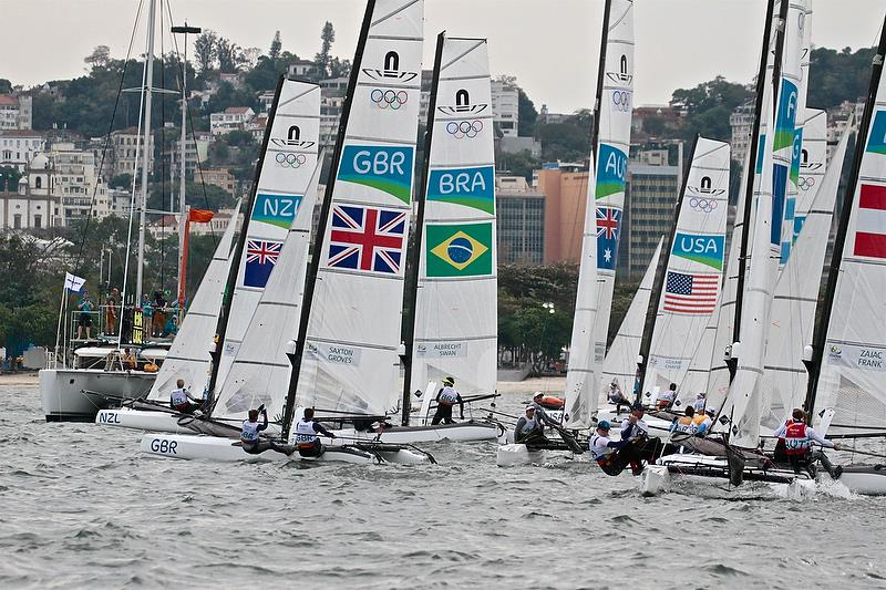 Start of the Nacra 17 Medal race - 2016 Olympic Regatta - photo © Richard Gladwell