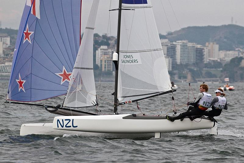 The only female skipper in the Medal race Gemma Jones (NZL) helms the Nacra 17 to a win in the Medal Race - photo © Richard Gladwell