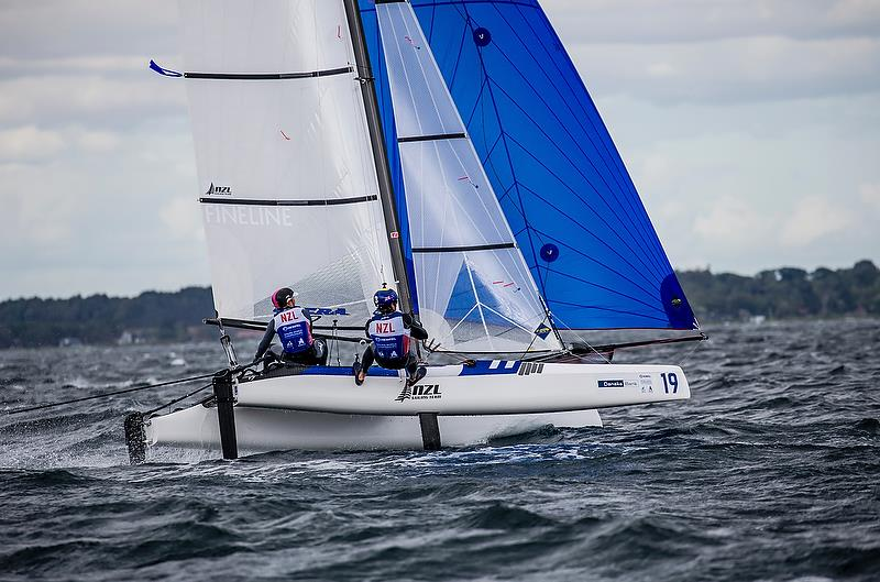 Olivia Mackay / Micah Wilkinson (NZL) - Nacra 17 - Day 4 - Hempel Sailing World Championships, Aarhus - August 2018 photo copyright Sailing Energy / World Sailing taken at  and featuring the Nacra 17 class