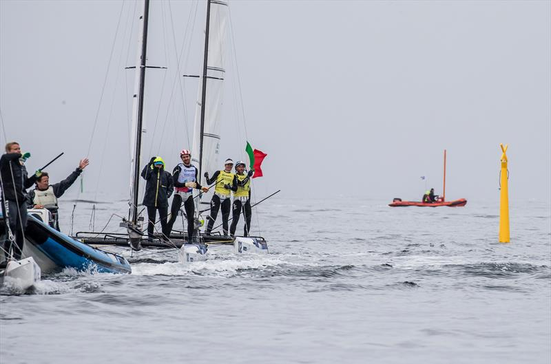 The Nacra Medal Race comes to a wet and windless end at the 2018 Hempel Sailing World Championships, Aarhus, Denmark - photo © Sailing Energy / World Sailing