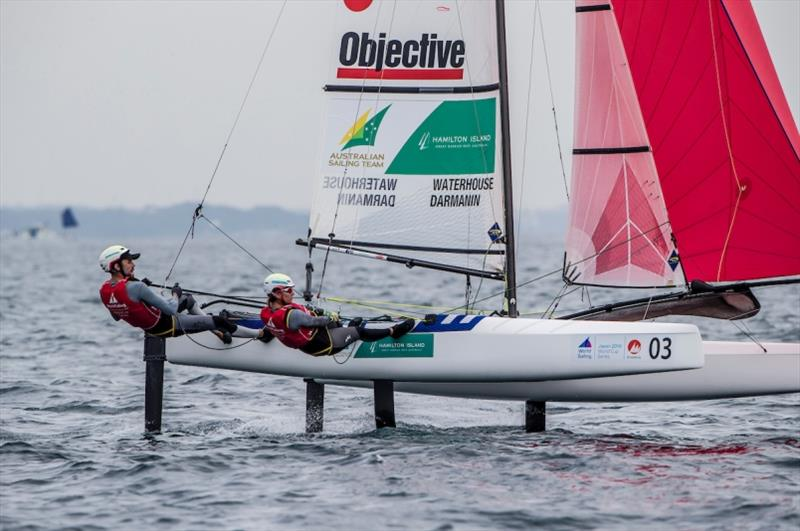 Jason Waterhouse and Lisa Darmanin (AUS) in the Nacra 17 on Day 3 at World Cup Series Enoshima - photo © Jesus Renedo / Sailing Energy / World Sailing