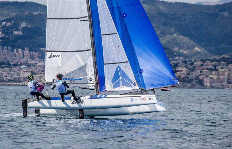 Gemma Jones and Jason Saunders - Nacra 17 - NZL Sailing Team - 2019 Hempel World Cup Series, Genoa, April 2019 photo copyright Sailing Energy taken at Yacht Club Italiano and featuring the Nacra 17 class