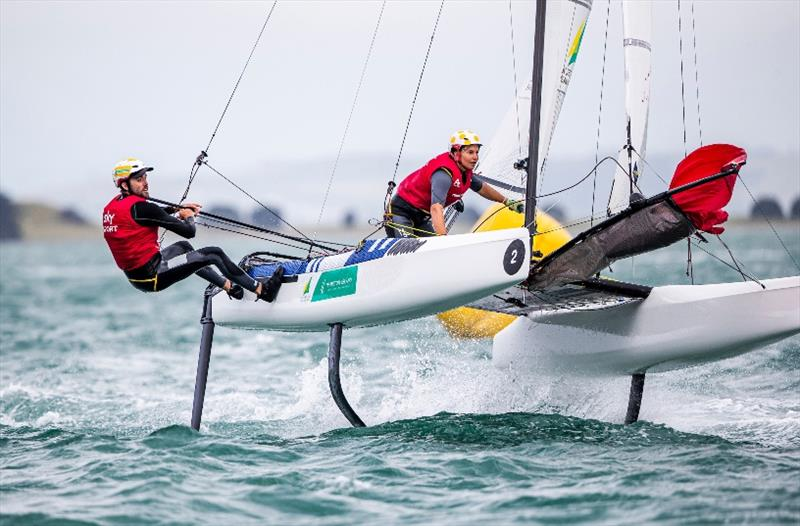 Jason Waterhouse and Lisa Darmanin - 49er, 49erFX and Nacra 17 World Championships final day photo copyright Jesus Renedo / Sailing Energy taken at Royal Akarana Yacht Club and featuring the Nacra 17 class