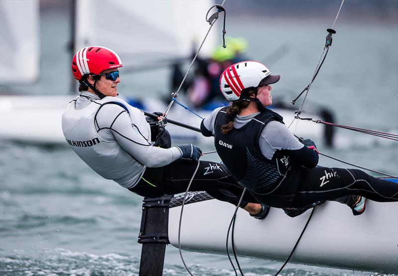 Micah Wilkinson and Erica Dawson - Nacra 17 - Day 1 - 2020 World Championships - Royal Geelong Yacht Club - February 2020 - photo © Jesus Renedo / Sailing Energy / World Sailing