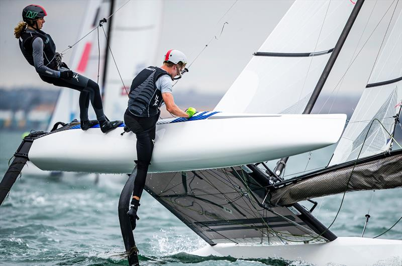 Clearing seaweed - Helena Sanderson and Henry Haslett - Nacra 17 - Day 1 - 2020 World Championships - Royal Geelong Yacht Club - February 2020 - photo © Jesus Renedo / Sailing Energy / World Sailing