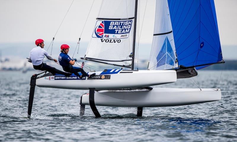 John Simson and Anna Burnet (GBR) lead the Nacra 17s after three races - 2020 49er, 49er FX & Nacra 17 World Championship, day 2 - photo © Jesus Renedo / Sailing Energy / World Sailing