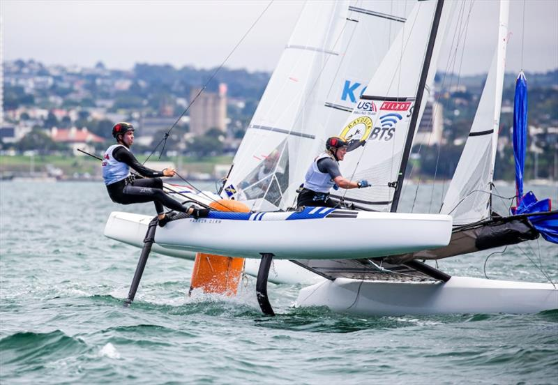 Riley Gibbs and Anna Weis - 49er, 49er FX & Nacra 17 2020 World Championships, day 3 - photo © Jesus Renedo / Sailing Energy
