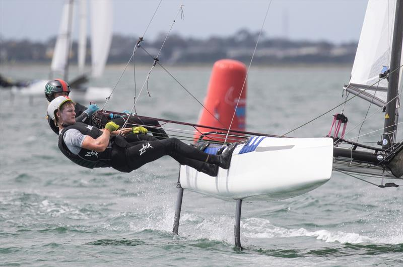 Helena Sanderson and Henry Haslett - Nacra 17 - Day 4 - 2020 World Championships - Royal Geelong Yacht Club - February 2020 photo copyright Bill Phillips taken at Royal Geelong Yacht Club and featuring the Nacra 17 class