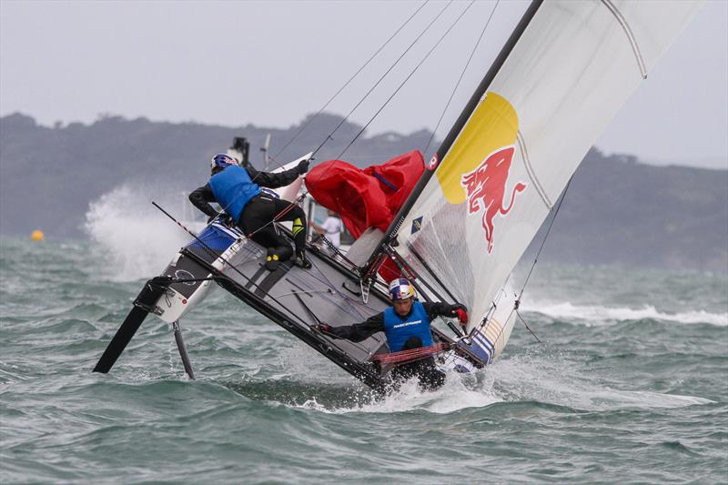Santi Lange (ARG) comes close to going over the side during a mark rounding - Medal Race, Nacra 17 - Hyundai Worlds - December 2019 - photo © Richard Gladwell / Sail-World.com
