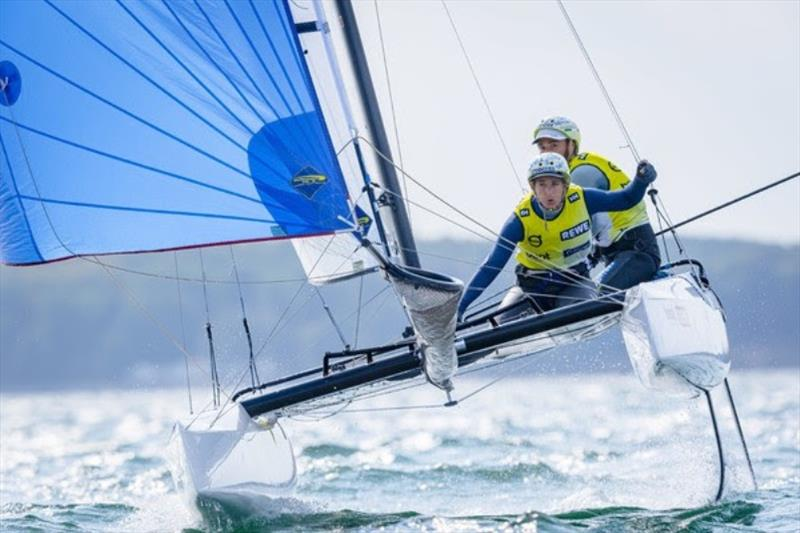 Ruggero Tita and Caterina Banti from the Italian national team lead after two days in Nacra 17 at the Kieler Woche 2020. photo copyright Sascha Klahn taken at Kieler Yacht Club and featuring the Nacra 17 class