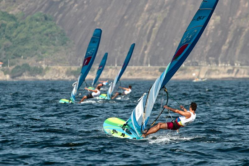 Men's RS:X head upwind on Day 2 of the 2016 Olympic Regatta - photo © Richard Gladwell