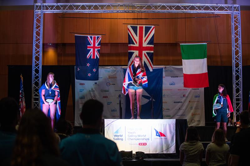 NZL's  Veerle ten Have (left) after being awarded the Silver  medal in the  Womens RS:X class at the 2018 Youth Sailing World Championships, Corpus Chris, Texas - photo © Jen Edney / World Sailing