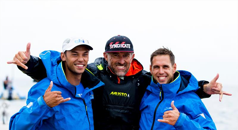 Dorian van Rijsselberghe (NED), coach Aaron McIntosh (NZL) and Kiran Badloe (NED) - RS:X - Gold and Silver medalists - Hempel Sailing World Championships, Aarhus, Denmark, August 2018 - photo © Sailing Energy / World Sailing