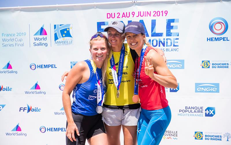 Windsurfing women's winners podium at the Hempel World Cup Series Final in Marseille photo copyright Sailing Energy / World Sailing taken at  and featuring the RS:X class