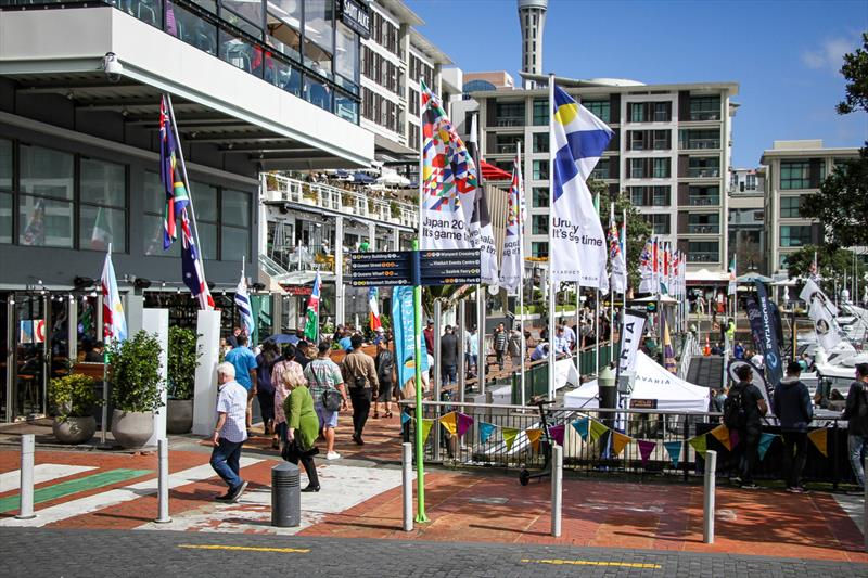 Eastern Viaduct Entrance to the marina, in front of the Viaduct Harbour watering holes - Auckland On the Water Boat Show - Final day - October 6, 2019 - photo © Richard Gladwell