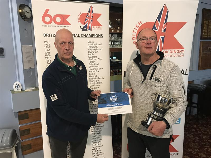 Keith Byers winner of North Sails voucher with OK Chair Bill Bradburn during the OK End of Season Championship at Burton - photo © Karen Robertson