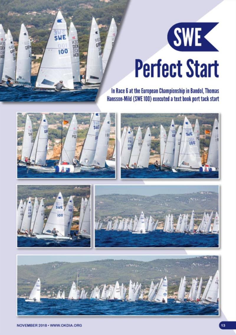 Photo feature showing Thomas Hansson-Mild's perfect port tack start in Race 6 of the Europeans in Bandol. Thomas also features on the front cover. - photo © Robert Deaves