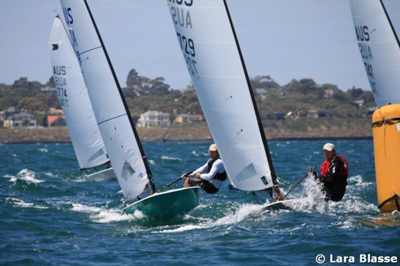 Roger and Andre Blasse at top mark - Day 4 - Australian OK Dinghy Nationals - photo © Lara Blasse