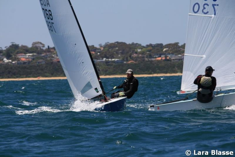 Mark Jackson ducks Mike Williams - Day 4 - Australian OK Dinghy Nationals - photo © Lara Blasse