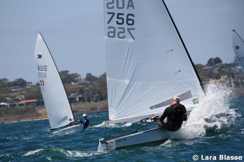 Nick Bennett finds a large wave - Day 4 - Australian OK Dinghy Nationals - photo © Lara Blasse