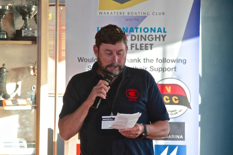Int OK Dinghy Association President, Mark Jackson (AUS) speaking at the Opening function - Symonite OK Worlds, Wakatere BC - February photo copyright Richard Gladwell taken at Wakatere Boating Club and featuring the OK class