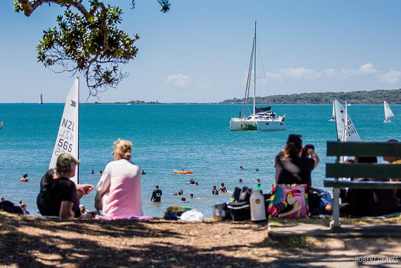 Idyllic Narrow Neck Beach - 2019 Symonite Int OK Dinghy World Championships, February 2019 photo copyright Robert Deaves taken at Wakatere Boating Club and featuring the OK class