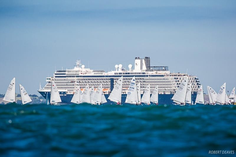 The fleet was joined by a departing cruise ship - Symonite OK Worlds, Day 2 - photo © Robert Deaves
