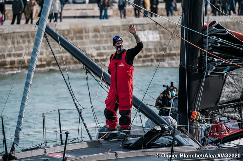 Jérémie Beyou (Charal) returns to Les Sables d'Olonne in the Vendée Globe © Olivier Blanchet / Alea #VG2020
