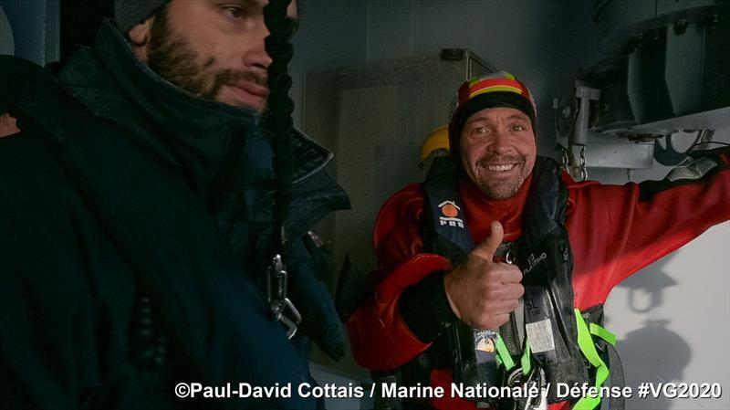 Kevin Escoffier successfully transferred off Yes We Cam in the Vendée Globe photo copyright Paul-David Cottais / Marine Nationale / Defence #VG2020 taken at  and featuring the IMOCA class