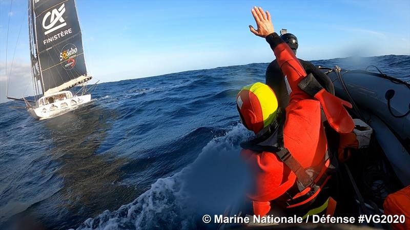 Kevin Escoffier successfully transferred off Yes We Cam in the Vendée Globe - photo © Marine Nationale / Defence #VG2020