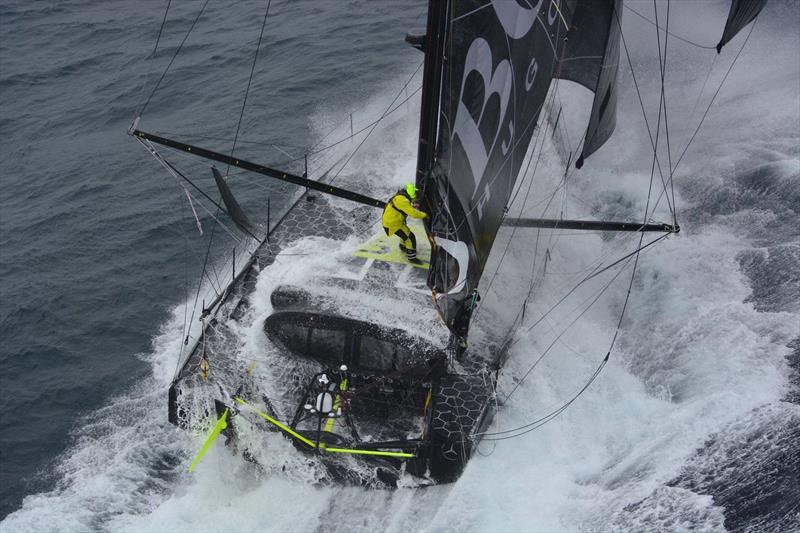Like the VO65's - Hugo Boss is a wet ride in the Southern Ocean - photo © French Navy
