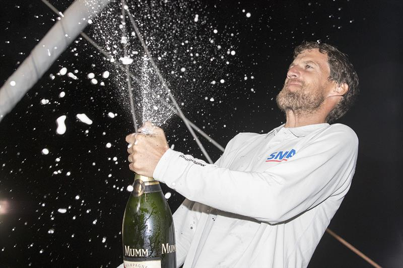 Paul Meilhat (SMA) enjoying his champagne moment after winning the IMOCA class in the Route du Rhum-Destination Guadeloupe. - photo © Alexis Courcoux