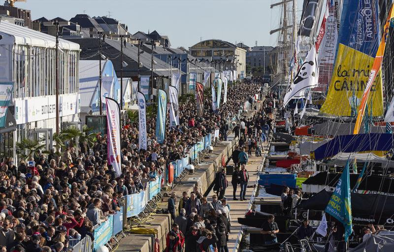 The IMOCAs in front of the public at the start of the Route du Rhum - photo © Benoit Stichelbaut