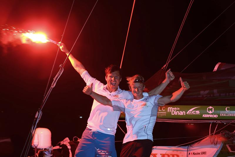 Maxime Sorel with Antoine Carpentier, Class'40 winners in 2017 - Transat Jacques Vabre - photo © TJV 2017