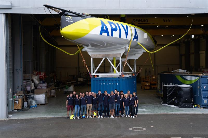 The Apivia Voile design, build, support and sailing team with their creation/new charge at her launch in Lorient, France, August 2019 - photo © Maxime Horlaville