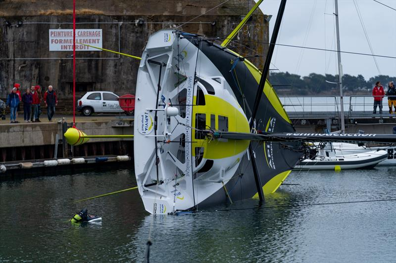 Apivia, the new IMOCA60 designed by Guillaume Verdier for Charlie Dahn (FRA) and aimed at the next Vendee Globe after her launching and fit-out at the former U-boat base in Lorient, France - photo © Maxime Horlaville
