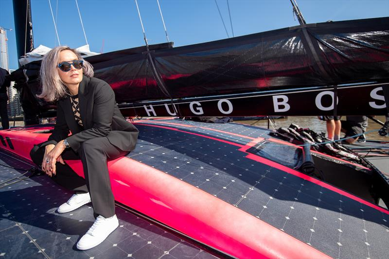 Victoria Pendleton visits Alex Thomson's new HUGO BOSS yacht - photo © Lloyd Images